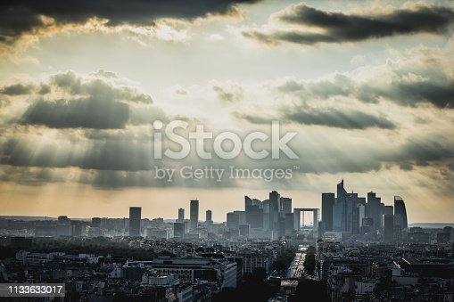 View on the modern district la Defense in Paris in sunlights