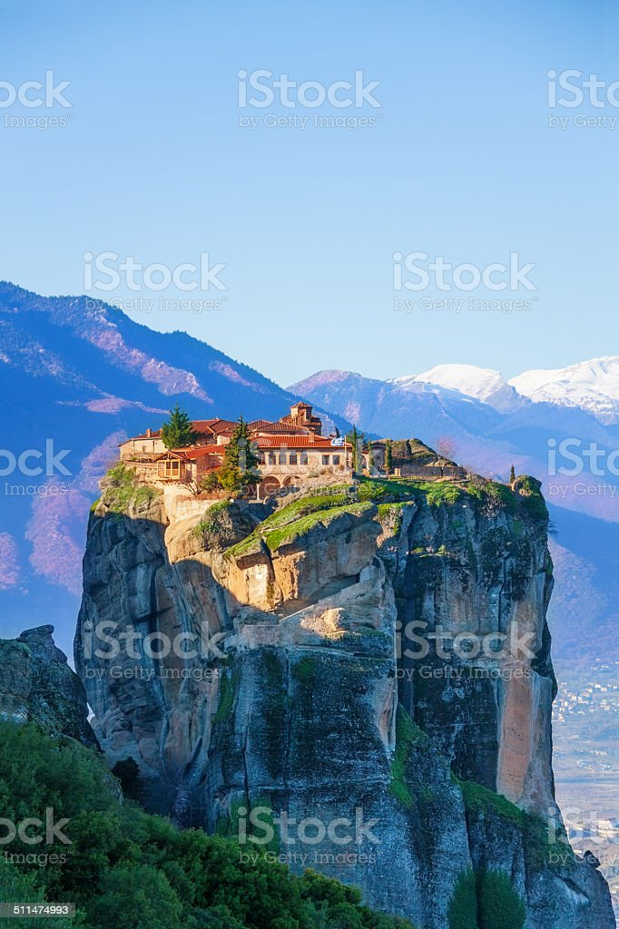 View on the Monastery of Holy Trinity, Greece stock photo