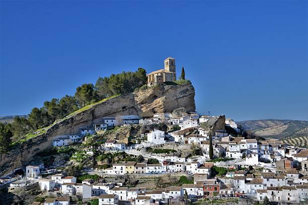 view on the montefrio village - andalousie photos et images de collection