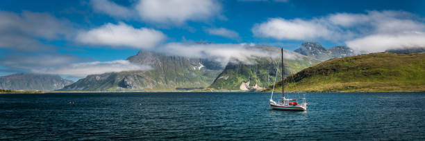 View on the Norwegian coastline from the sea View on the Norwegian coastline from the sea rocky coastline stock pictures, royalty-free photos & images