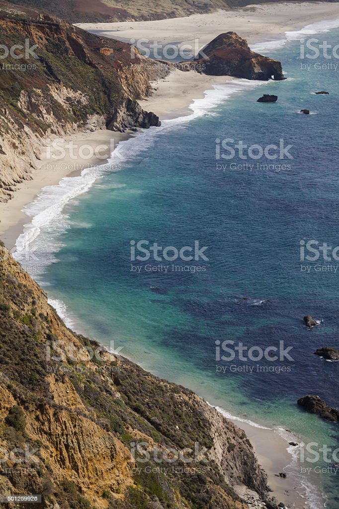 View on the ocean at Highway No 1, California stock photo