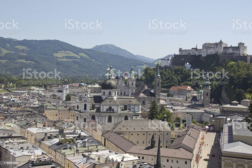 View On The Old City Of Salzburg and Fortress royalty-free stock photo