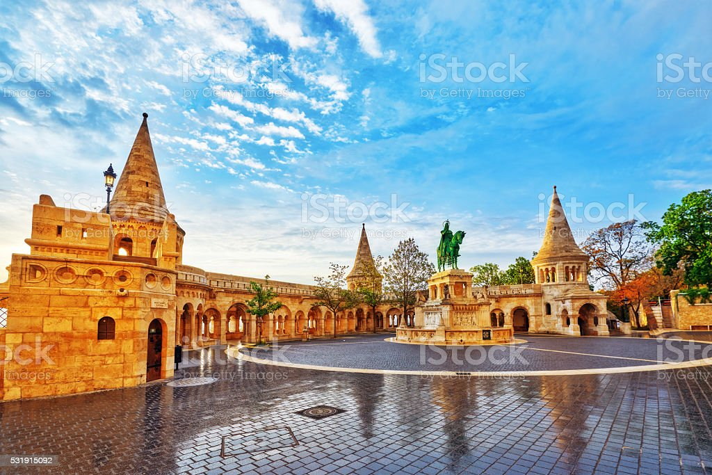 View on the Old Fishermen Bastion in Budapest. stock photo