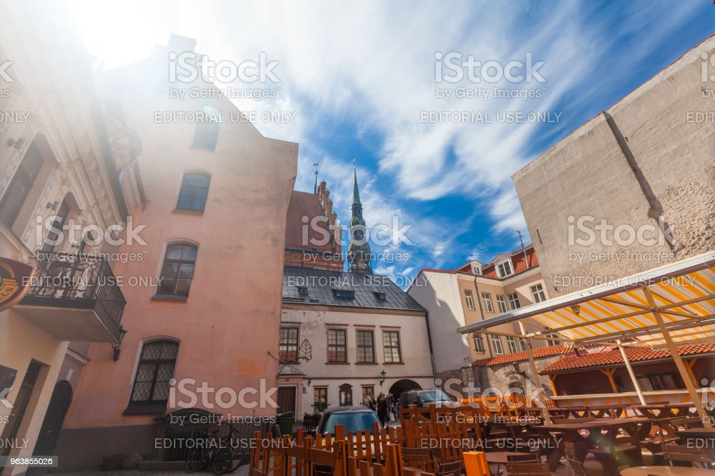 View on the old houses and church towers that are located in the city center of Riga. Latvia. - Royalty-free Architecture Stock Photo