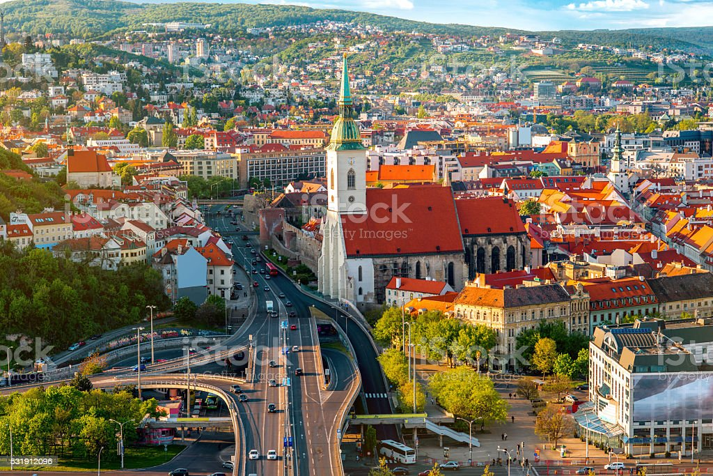 View on the old town of Bratislava city stock photo