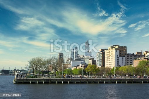View on the Pier 45 at Hudson River Park and buildings on the West side of Manhattan