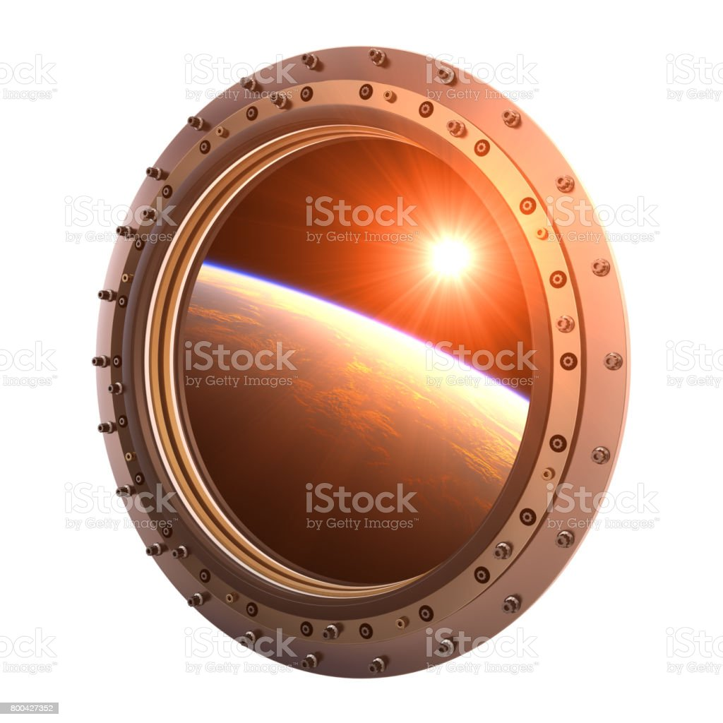 View On The Planet And Sun Through The Porthole Of Spaceship stock photo