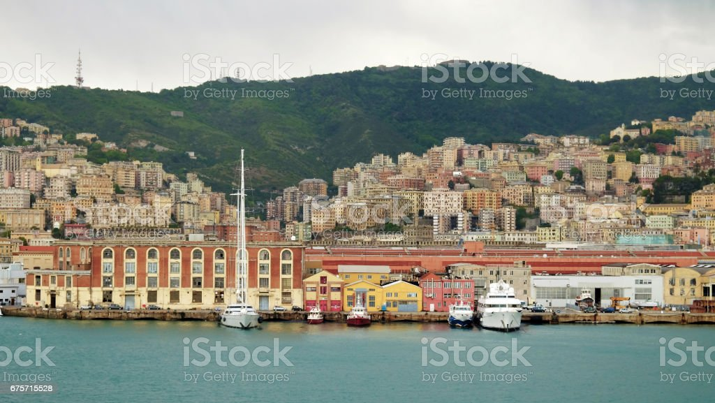View on the port and the architecture of Genoa, Italy. 免版稅 stock photo