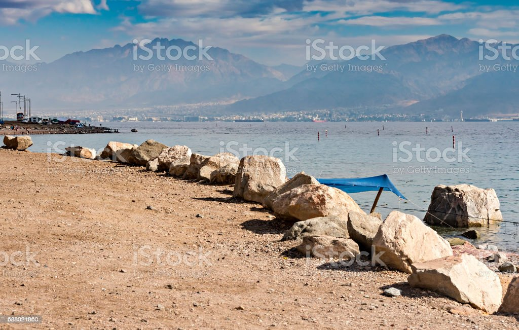 View on the Red sea and Aqaba from coral beach, Eilat, Israel stock photo
