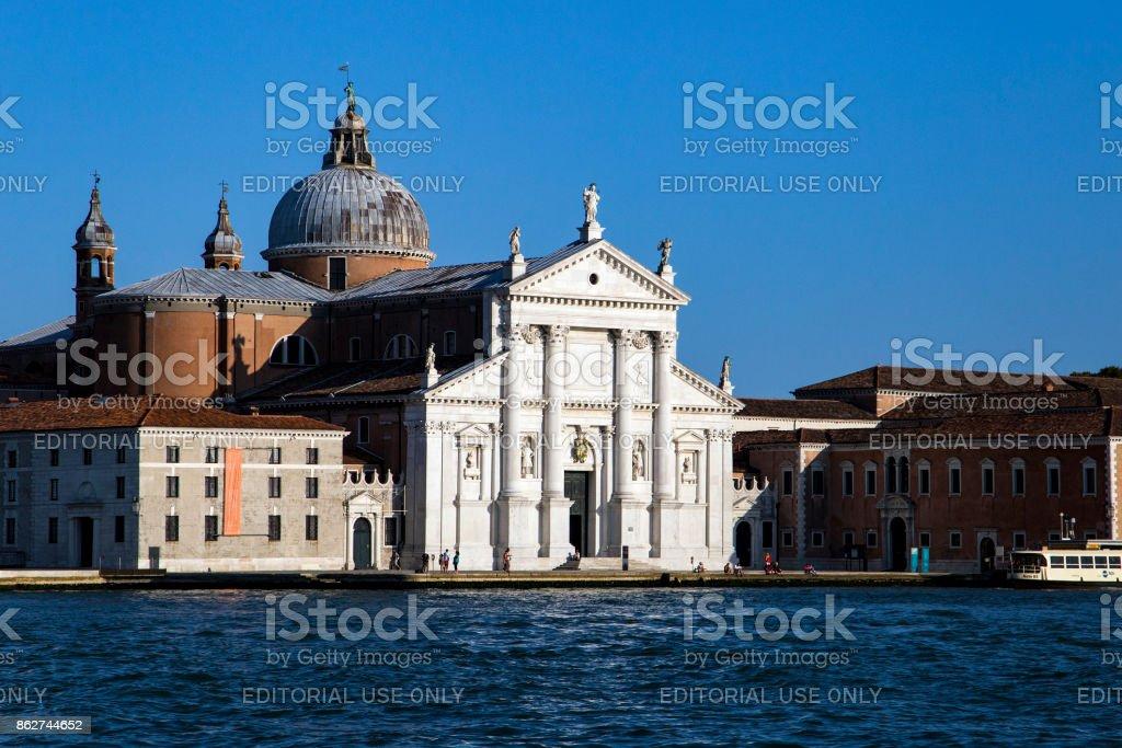 View on the San Giorgio Maggiore church island in Venice, Italy from the sea 2017-08-22 stock photo