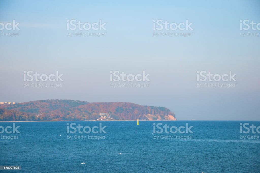 View on the sea and shore in Sopot stock photo