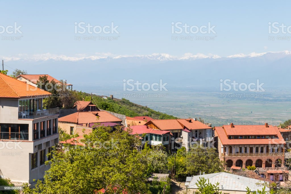View on the Sighnaghi town and Caucasian mountains, Georgia stock photo