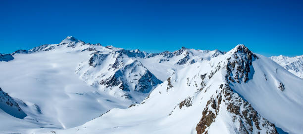 View on the snowy Tiroler Alps in Austria during a beautiful winter day