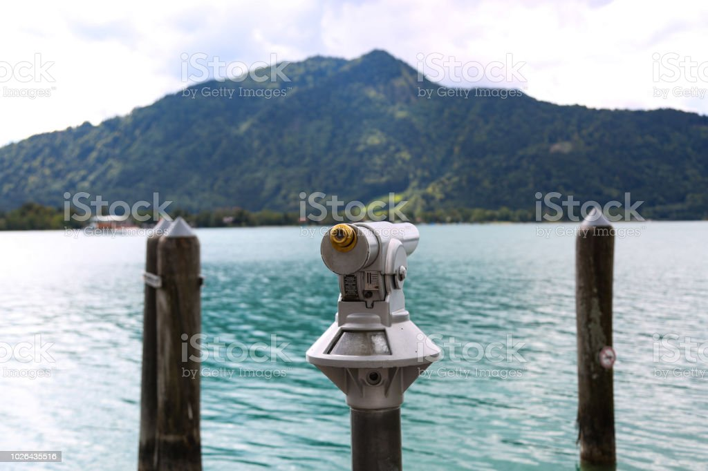 View on the Tegernsee, telescope stock photo