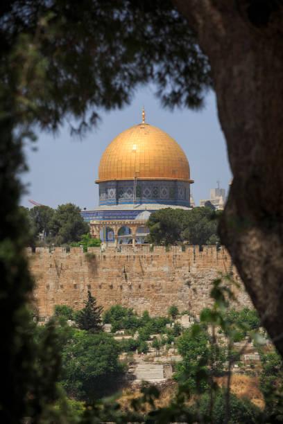 Blick auf die Kuppel des Tempels des Felsens am Nachmittag. Aus dem Kloster von Mary Magdalene. Jerusalem. Israel. – Foto