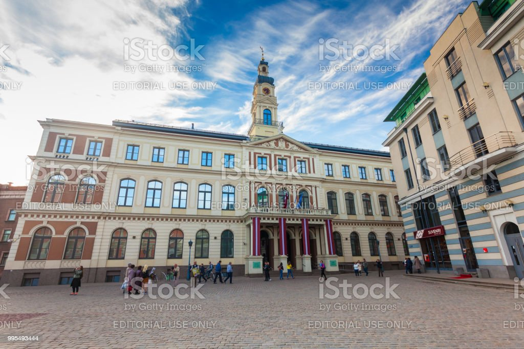View On The The Town Hall Square And Riga City Council Are Located In The  City Center Of Riga Latvia Stock Photo - Download Image Now