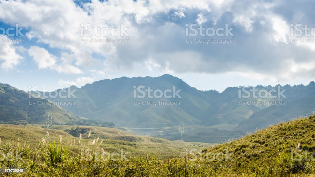 view on the top of Mountain and blue sky at Kasi, Laos stock photo