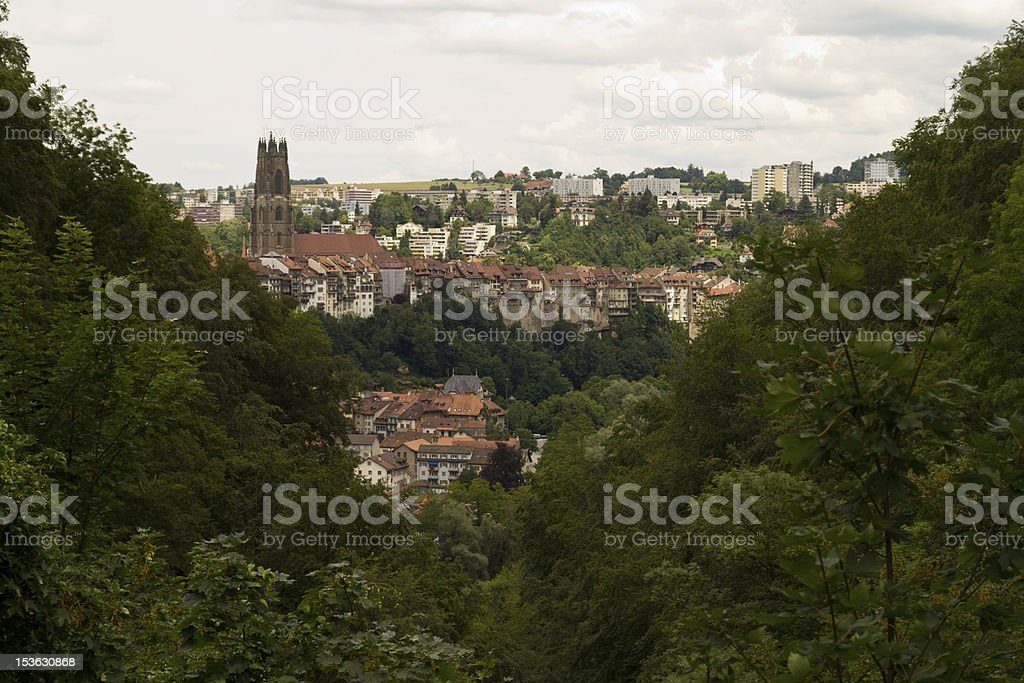 View on the town of Fribourg through green Forest. stock photo