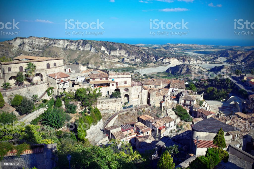 View on the village of  Stilo and the surrounding landscape, Calabria,Italy stock photo