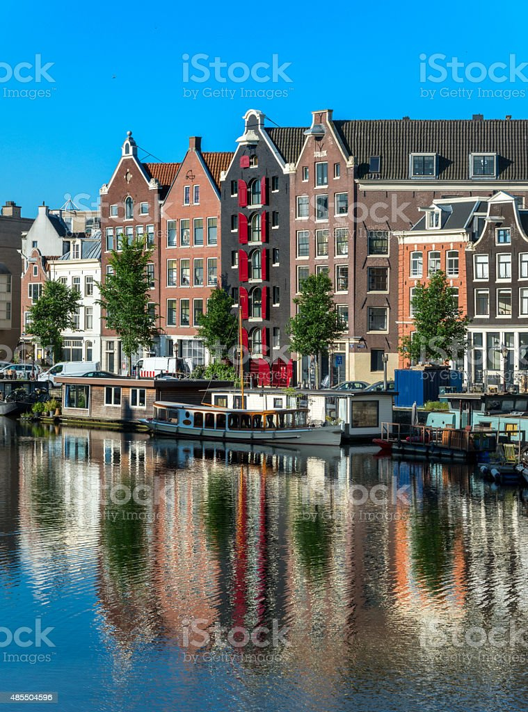 View on the Waalseilandgracht, with boats and house boats Amsterdam. stock photo
