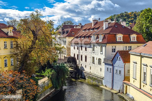 Prague, Czech Republic - October 10, 2017: Certovka river in Prague. Channel between Kampa island and Mala strana. View on the waterwheel at the old mill on the Moldava millstream in Mala Strana Prague, Czech Republic