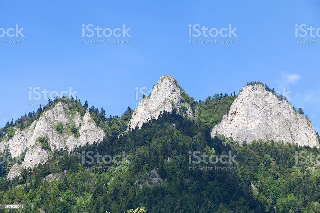 View on Three Crowns Massif in Pieniny Mountains , Poland foto royalty-free