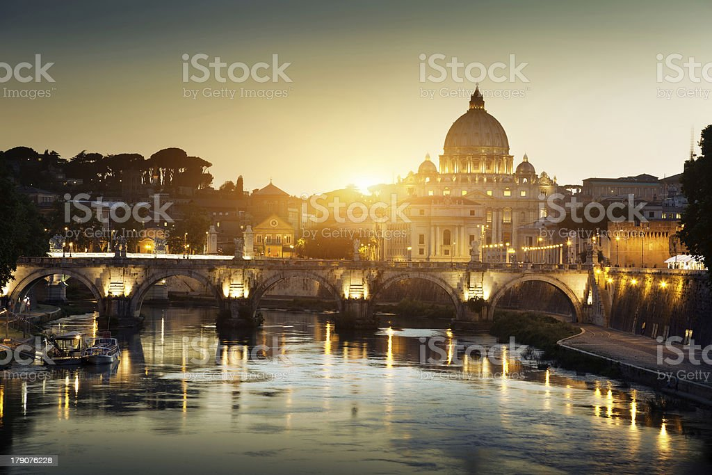 view on Tiber and St Peter Basilica in Vatican stock photo