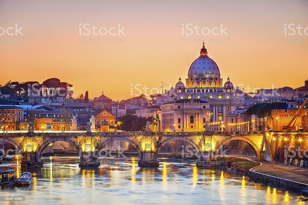 View on Tiber and St. Peter's cathedral at night, Rome stock photo