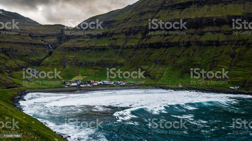 View on Tjornuvik village, Faroe Islands стоковое фото
