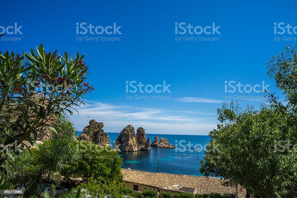 View on Tonnara at Scopello, Sicily, Italy royalty-free stock photo