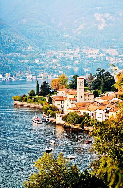 View on Torno village, Lake Como, Italy stock photo