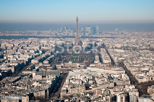 Aerial view on Tour Eiffel, military school, Champ de Mars, Trocadero, and in background La Défense in cloud of pollution.