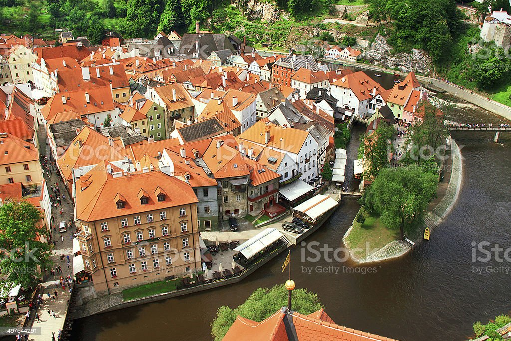 View on town Cesky Krumlov. stock photo