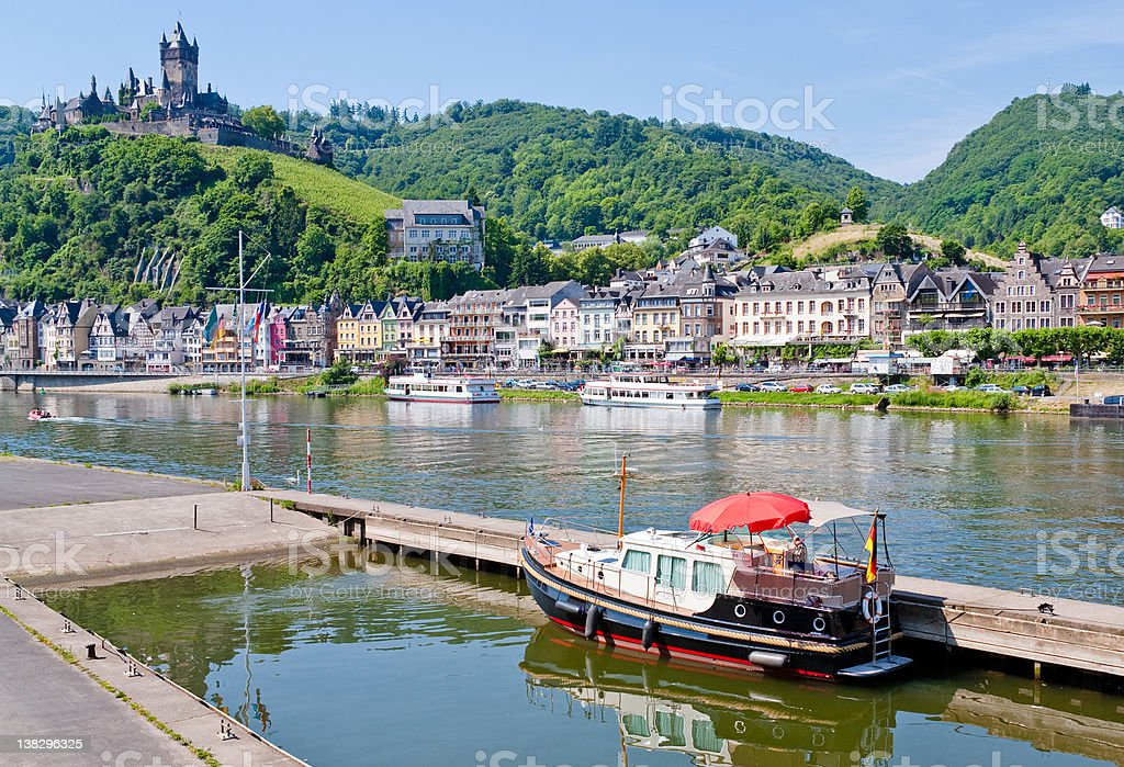 view on town Cochem and castle, Germany stock photo