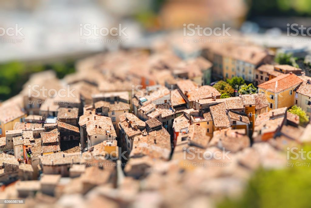 View on town Entrevaux, France, Europe. Miniature stock photo