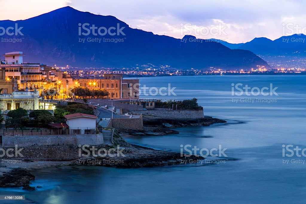 View on Town of Aspra from Bagheria stock photo