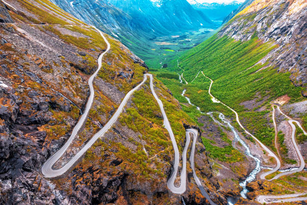 view on troll road in Norway stock photo