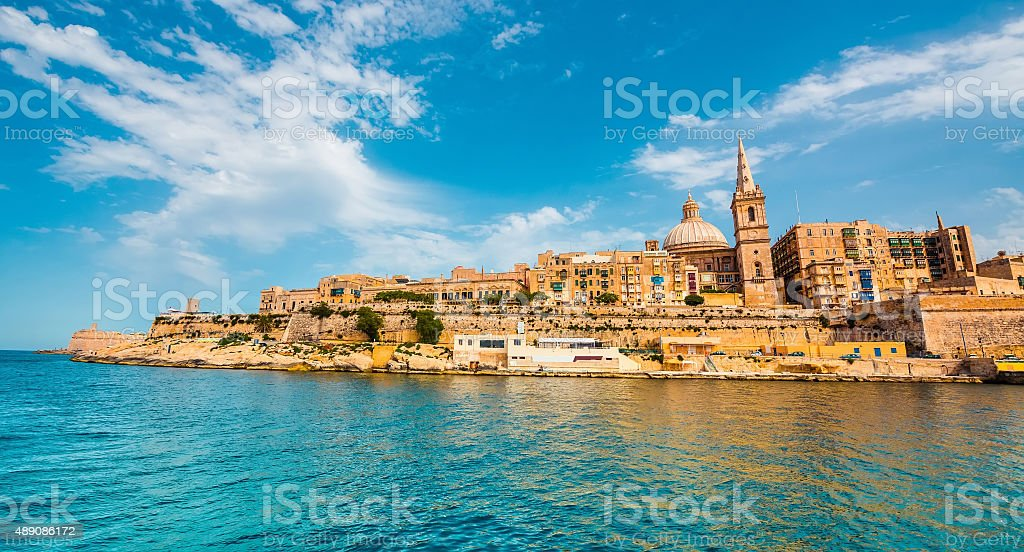 view on Valletta from the sea stock photo