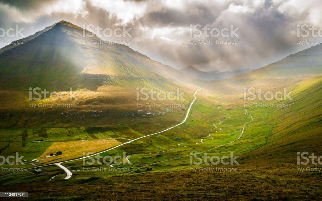 View on valley near Gjogv, Faroe Islands стоковое фото