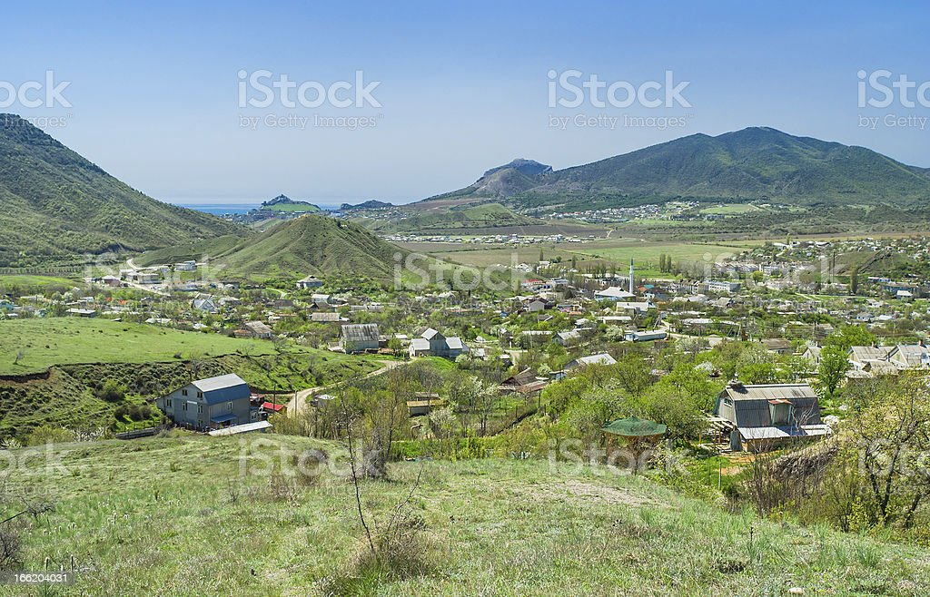 View on valley where Sudak town located in eastern Crimea royalty-free stock photo