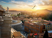 View on Vatican city and its streets at sunset, Italy