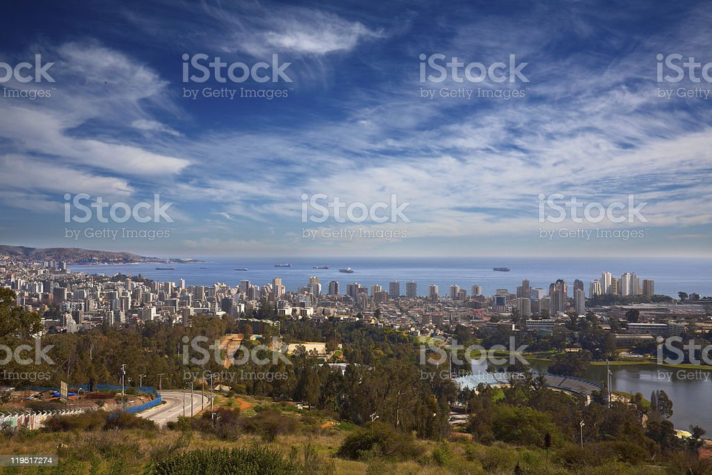 view on Vina del Mar and Valparaiso, Chile stock photo