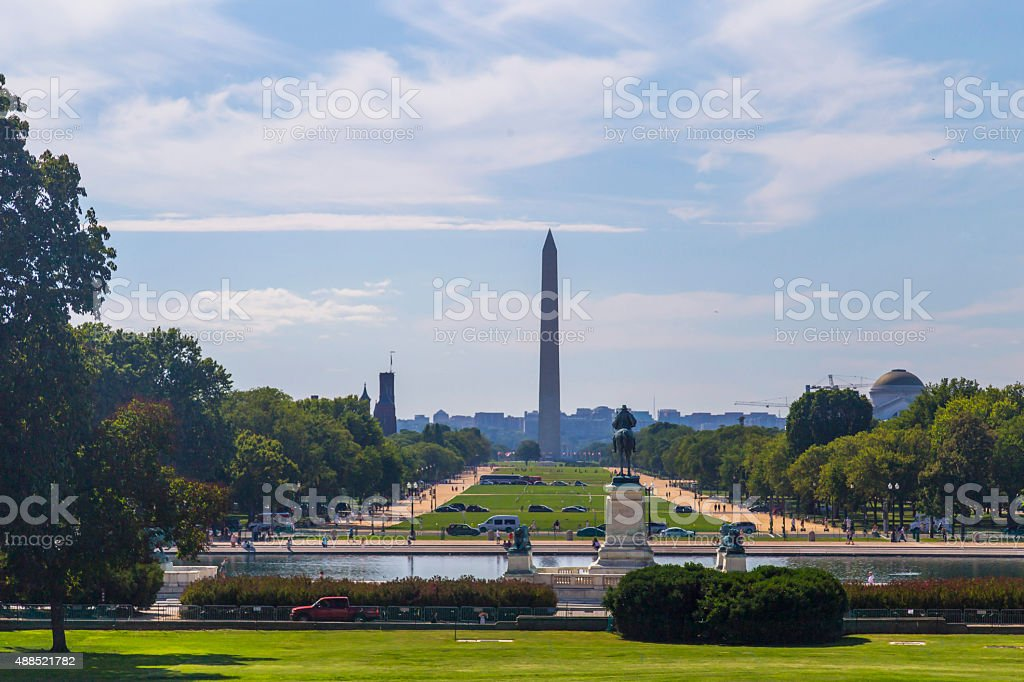 View on Washington Monument from Capitol Hill, USA stock photo