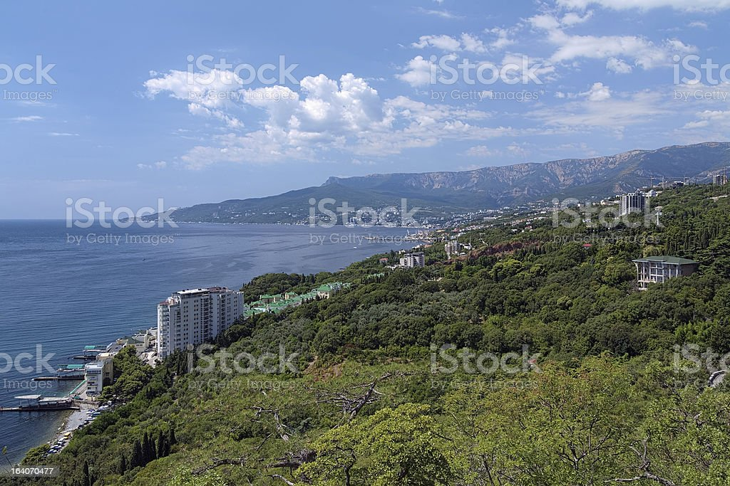 View on Yalta city and Ai-Petri mountain in Crimea, Ukraine royalty-free stock photo