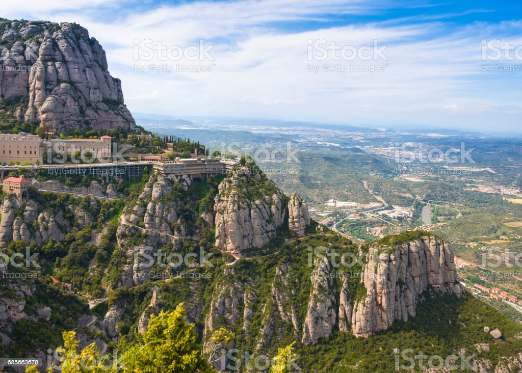 View onto Montserrat mountains and Benedictine monastery of Santa Maria de Montserrat 免版稅 stock photo