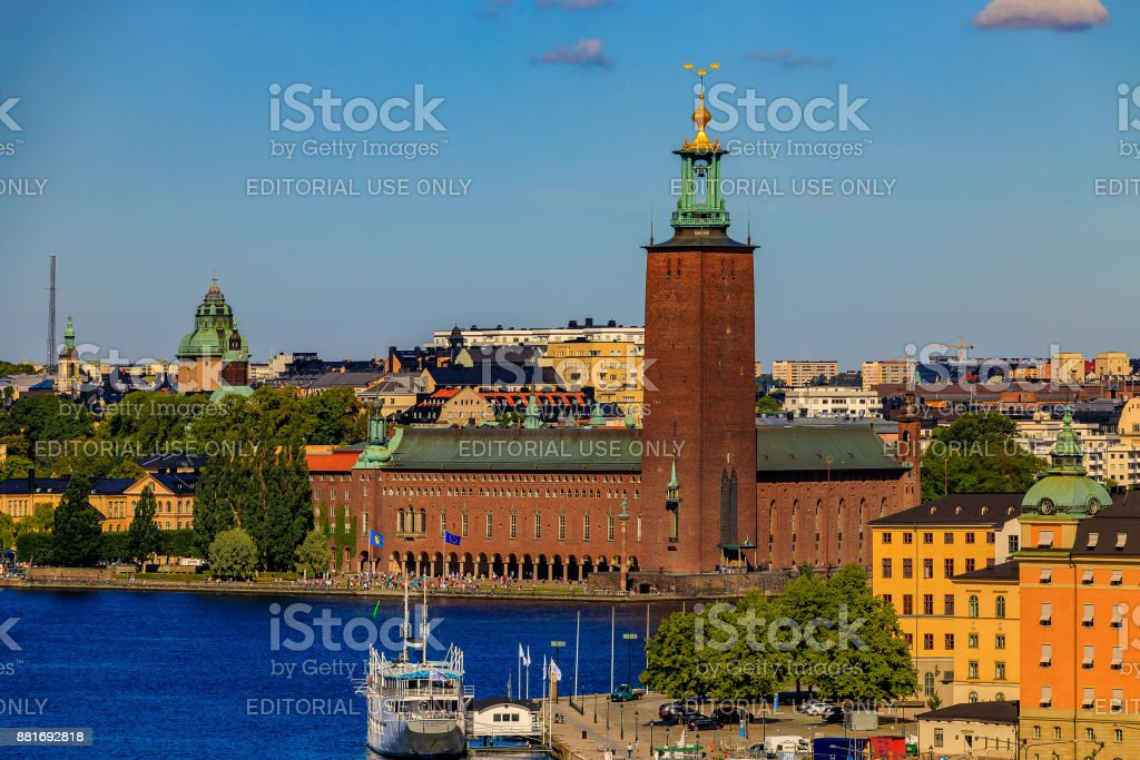 View onto Stockholm old town Gamla Stan and Riddarholmen in Sweden stock photo