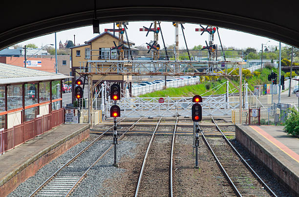 View out of Ballarat Railway Station towards level crossing stock photo