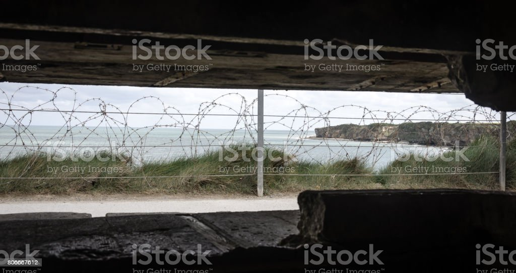 View out of the bunker at Pointe du Hoc Normandy stock photo