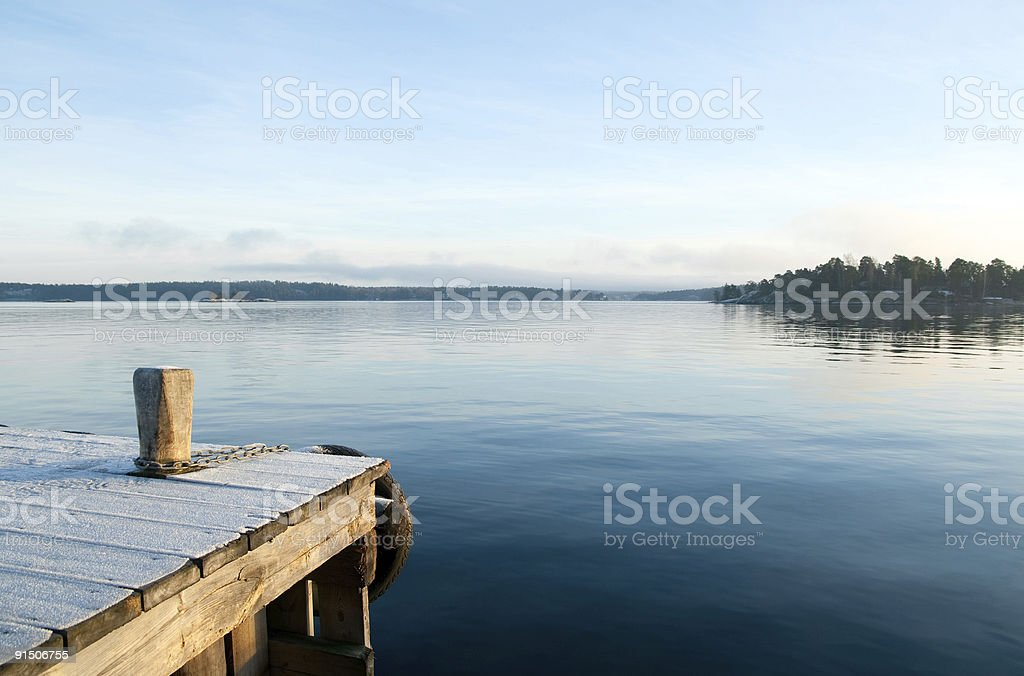 View over a calm lake stock photo