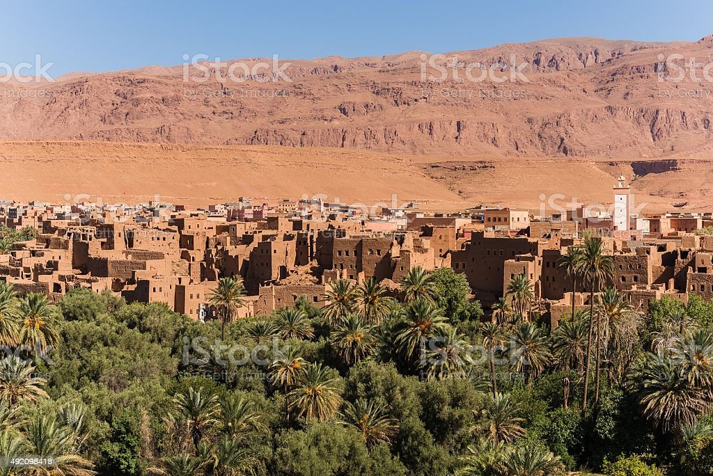 view over a city near the moroccan desert stock photo